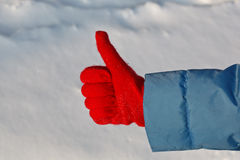 Thumb up winter Royalty Free Stock Image