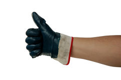 Thumb Up with Work Glove Stock Images