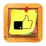 Thumb Up - Yellow Sticker on Message Board. Stock Images