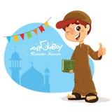 Thumb Up Young Muslim Boy Holding Quran Book Royalty Free Stock Photo