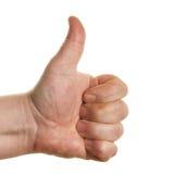 Thumb-upzeichennahaufnahme Stockfotografie