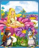 Thumbelina - οι πριγκήπισσες - κάστρα - ιππότες και νεράιδες - όμορφο κορίτσι Manga - απεικόνιση για τα παιδιά Στοκ Εικόνες