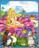 Thumbelina - принцессы - замки - рыцари и феи - красивая девушка Manga - иллюстрация для детей Стоковые Изображения
