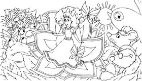 Thumbelina. Black-and-white illustration for a coloring book: Thumbelina sitting on a flower surrounded the fairytale characters Stock Photo