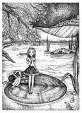 Thumbelina auf Seeroseblatt Hand gezeichnete Skizzentintenillustration vektor abbildung