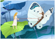 Thumbelina with butterfly Stock Photography