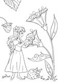 Thumbelina coloring page illustration Royalty Free Stock Image