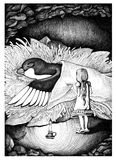 Thumbelina covered swallow. Hand drawn sketch ink illustration. Royalty Free Stock Image