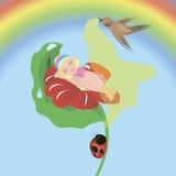 Thumbelina, das in einer Blume schläft Stockbilder