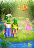 Thumbelina and  frog Royalty Free Stock Photo