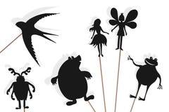 Thumbelina-Märchen, Schattenmarionetten stockbilder