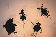 Thumbelina storytelling, shadow puppets vector illustration