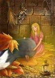 Thumbelina y el trago Imágenes de archivo libres de regalías
