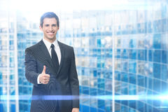 Thumbing up business man Royalty Free Stock Images