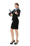 Thumbing up businesswoman with folder Royalty Free Stock Photography