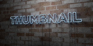 THUMBNAIL - Glowing Neon Sign on stonework wall - 3D rendered royalty free stock illustration Royalty Free Stock Images