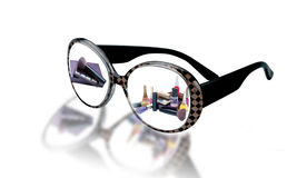 Thumbnails of female cosmetics glasses Royalty Free Stock Images