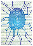 Thumbprint with Circuit Board Binary Code Illustration Stock Photography