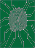 Thumbprint with Circuit Board vector Illustration Royalty Free Stock Photo