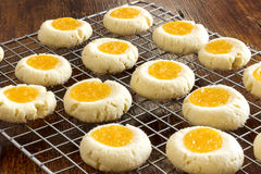 Thumbprint Cookies with Lemon Curd. Homemade thumbprint cookies a combination of sweet buttery cookies and citrusy topping and a hint of almonds Stock Image