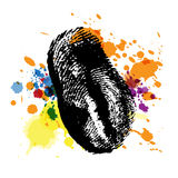 Thumbprint on ink splatter Stock Photography