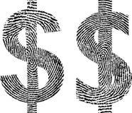 Thumbprint. Symbol dollar with shape fingerprint Stock Photos