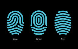 Thumbprint types on black background. Royalty Free Stock Photography