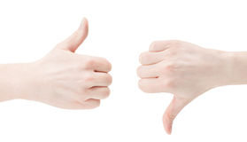 Thumbs. Caucasian hands with thumbs up and thumbs down. Isolated on white Stock Images