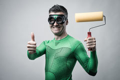 Смешной супергерой с роликом картины thumbs вверх Стоковая Фотография