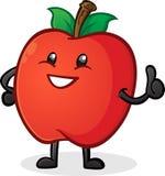 Яблоко Thumbs вверх по персонажу из мультфильма Стоковые Фото