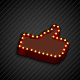 The thumbs background symbol glowing with bulbs Stock Photo