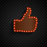 The thumbs background symbol glowing with bulbs Stock Images