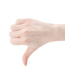 Thumbs down. Body part, thumbs down over white background Royalty Free Stock Photography
