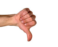 Thumbs down. A hand (dirty nails)  with the thumb pointing downward suggesting a certain failure Royalty Free Stock Photos