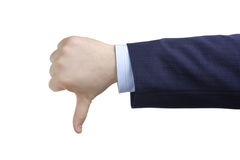 Thumbs down. Against white background Royalty Free Stock Images