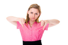 Thumbs down, attractive female isolated on white Stock Images