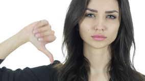 Thumbs Down By Beautiful Brunette Woman, White Background,Young stock video footage