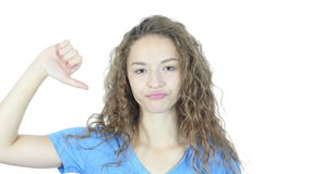 Thumbs Down By Beautiful Young  Woman, White Background,Young,,,, stock video