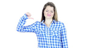 Thumbs Down By Beautiful Young  Woman, White Background,Young,,,, stock video footage