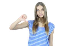 Thumbs Down By Beautiful Young  Woman, White Background,Young,,,, stock footage