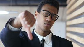 Thumbs Down by Black Businessman in Suit, Portrait stock video footage