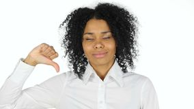 Thumbs Down by Black Woman on White Background stock video