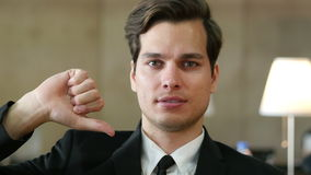 Thumbs Down by Businessman, Portrait in Office. Thumbs Down by Businessman, Portrait, Creative Designer stock video
