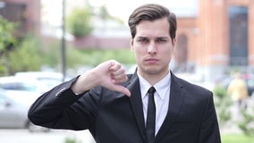 Thumbs Down by Businessman, Portrait, Outdoor Close Up. Creative designer , web designer stock video