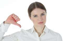 Thumbs Down by Businesswoman. 4k  high quality stock video