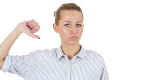 Thumbs Down by Businesswoman, White Background stock video footage