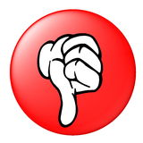 Thumbs Down Button. An illustrated red button with a thumbs down sign, isolated on a white background Stock Photography