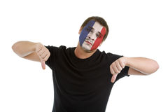 Thumbs down with french flag Royalty Free Stock Image