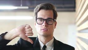 Thumbs Down Gesture by Man in Suit, Portrait. Creative Designer stock video