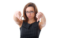 Thumbs down gesture, sad businesswoman Stock Images